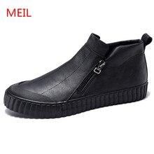 MEIL 2018 new Vulcanized Shoes men Comfortable Spring Autumn Footwear Soft Zipper High Top zapatos hombre casual