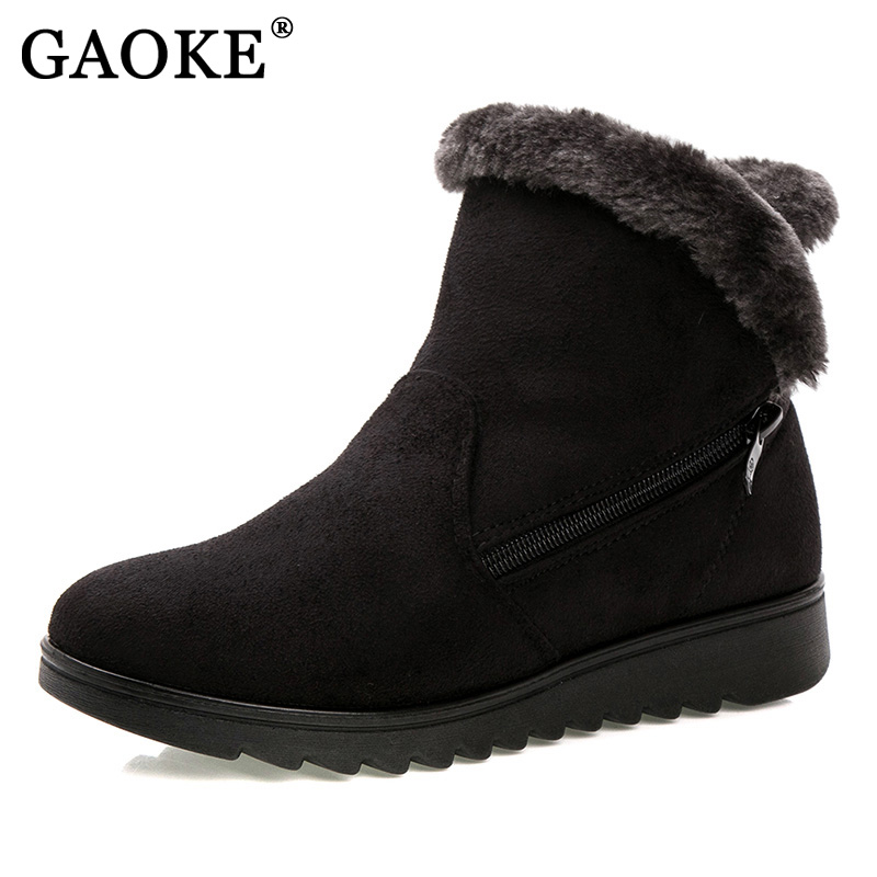 Gaoke женская зимняя обувь женские ботильоны Новинка 3 цвета модные повседневные плоские теплые женские зимние сапоги бесплатная доставка