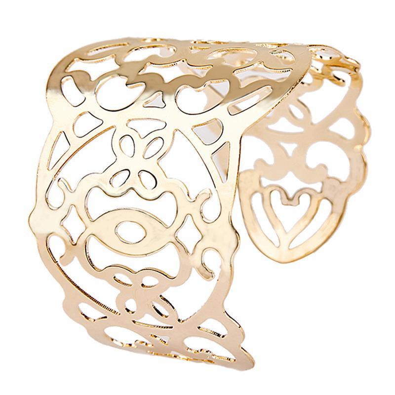 2015 Luxury Fashion Women's Punk Gold Filled Hollow Charm Cuff Bangle Bracelet Jewelry Free Shipping