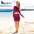 [You're My Secret] 2016 Summer Autumn Women Casual Full Sleeve Top with Over Hip Ruched Short Skirt Woman's Two-pieces Suits