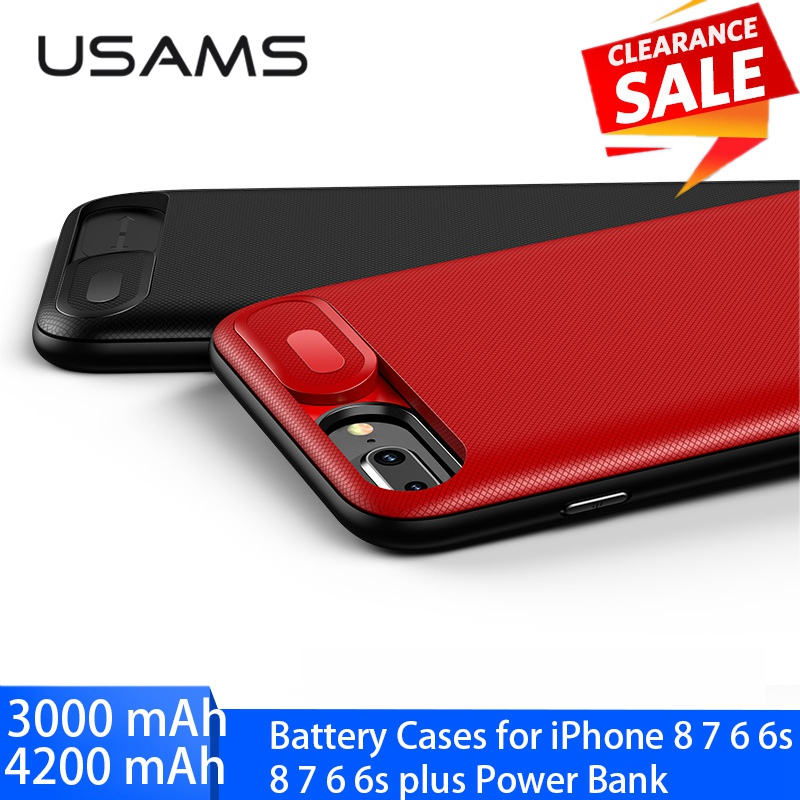 Usams Battery Case For Iphone eight 7 6 6S Plus Charger Case 3000/4200Mah Battery Charging Case Cowl For Iphone Energy Financial institution Case Crimson
