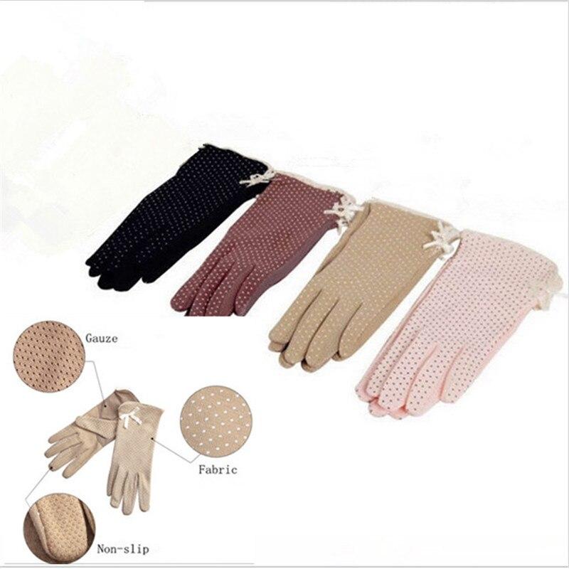 KLV 1 Pair Elegant Women's Driving Slip-resistant Sunscreen Cotton Gloves Fashion Dot Lace Female Sun Protection Non-slip Glove