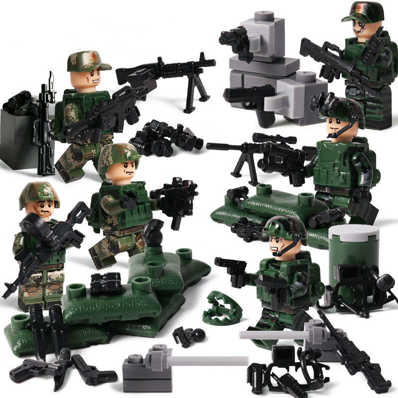 1 Set 6 Doll+weapon+parts Modern SWAT Military Building Blocks Marine Corps Building & Construction Toys Education and Brain