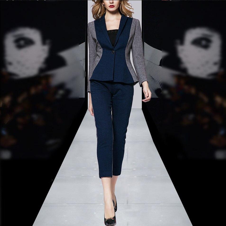 Formal Business Work Wear Suits Womens Blue Color Block Office Uniform Designs Women Pants Suit Spring 2017
