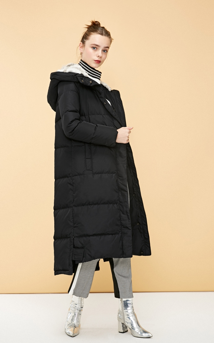 Vero Moda new detachable rabbit fur hooded long down jacket women   318312503 12