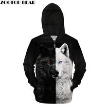 Ying En Yang Wolf Zip Hoodies Mannen 3D Pullover Streetwear Sweatshirt Rits Hoody Harajuku Trainingspak Hip Hop Dropship Zootopbear