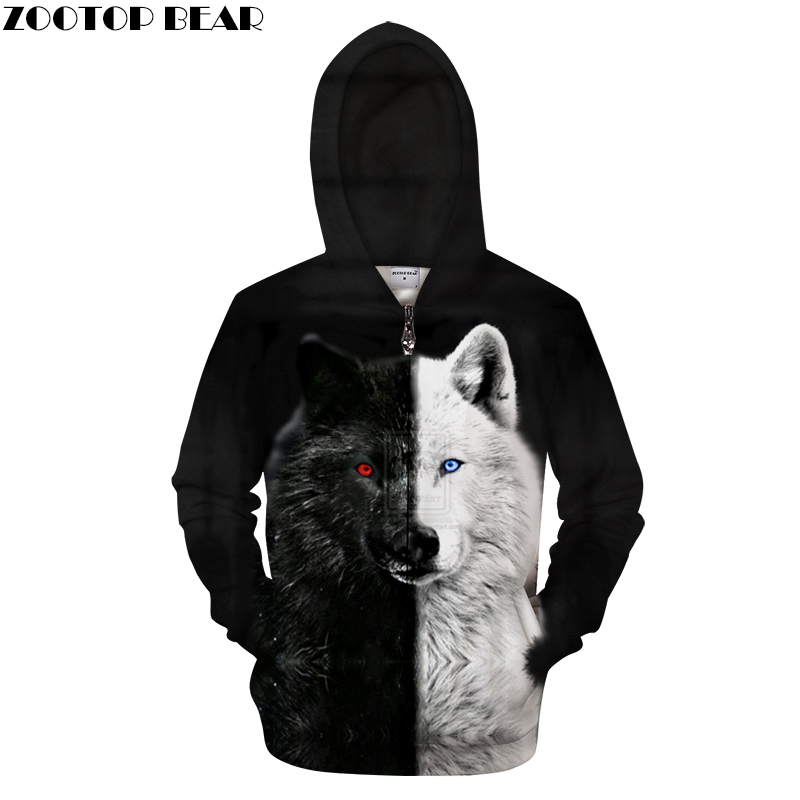 Ying And Yang Wolf Zip Hoodies Men 3D Pullover Streetwear Sweatshirt Zipper Hoody Harajuku Tracksuit Hip Hop DropShip ZOOTOPBEAR
