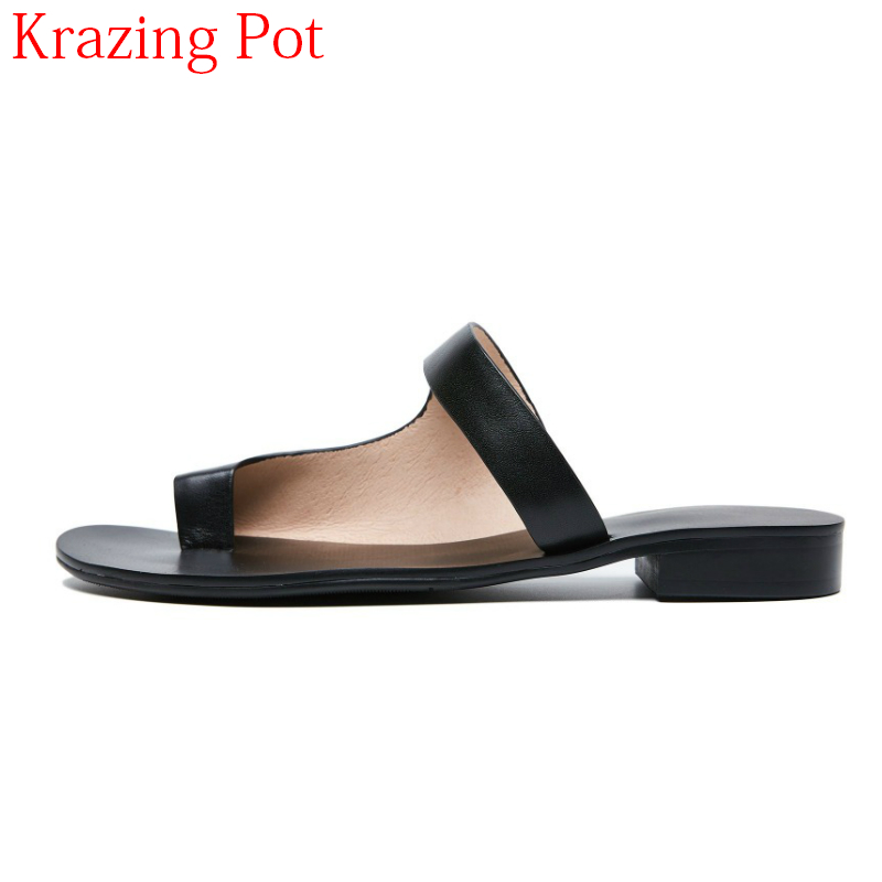 2018 New Arrival Peep Toe Concise Cow Leather Solid Novelty Women Sandals Runway Mules Thick Heel Elegant Summer Slippers L62 new arrival superstar genuine leather chelsea boots women round toe solid thick heel runway model nude zipper mid calf boots l63
