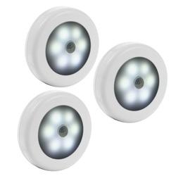 3PCS LED Motion Sensor Night Dry Battery Powered LED Night Light Motion Lamp with White Light for Emergency