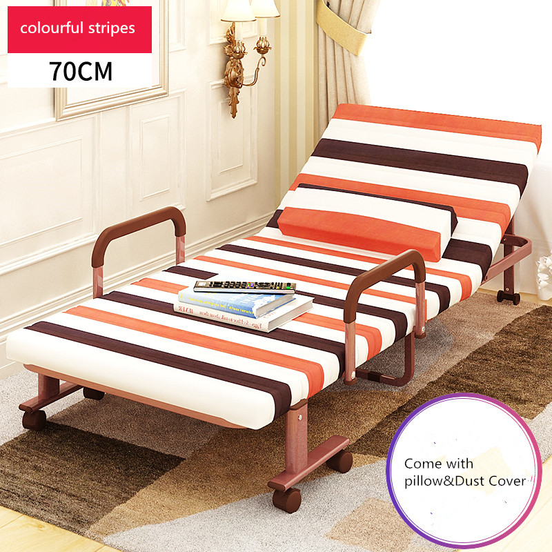 70cm Wide Folding Rollaway Bed Adjustable Guest Bed Chaise Lounge Chairs with Mattress and Pillow Bedroom Furniture Folding Bed free shipping plastic miniatures bedroom furniture single bed with pillow and bed sheet for barbie dolls dollhouse kids gift