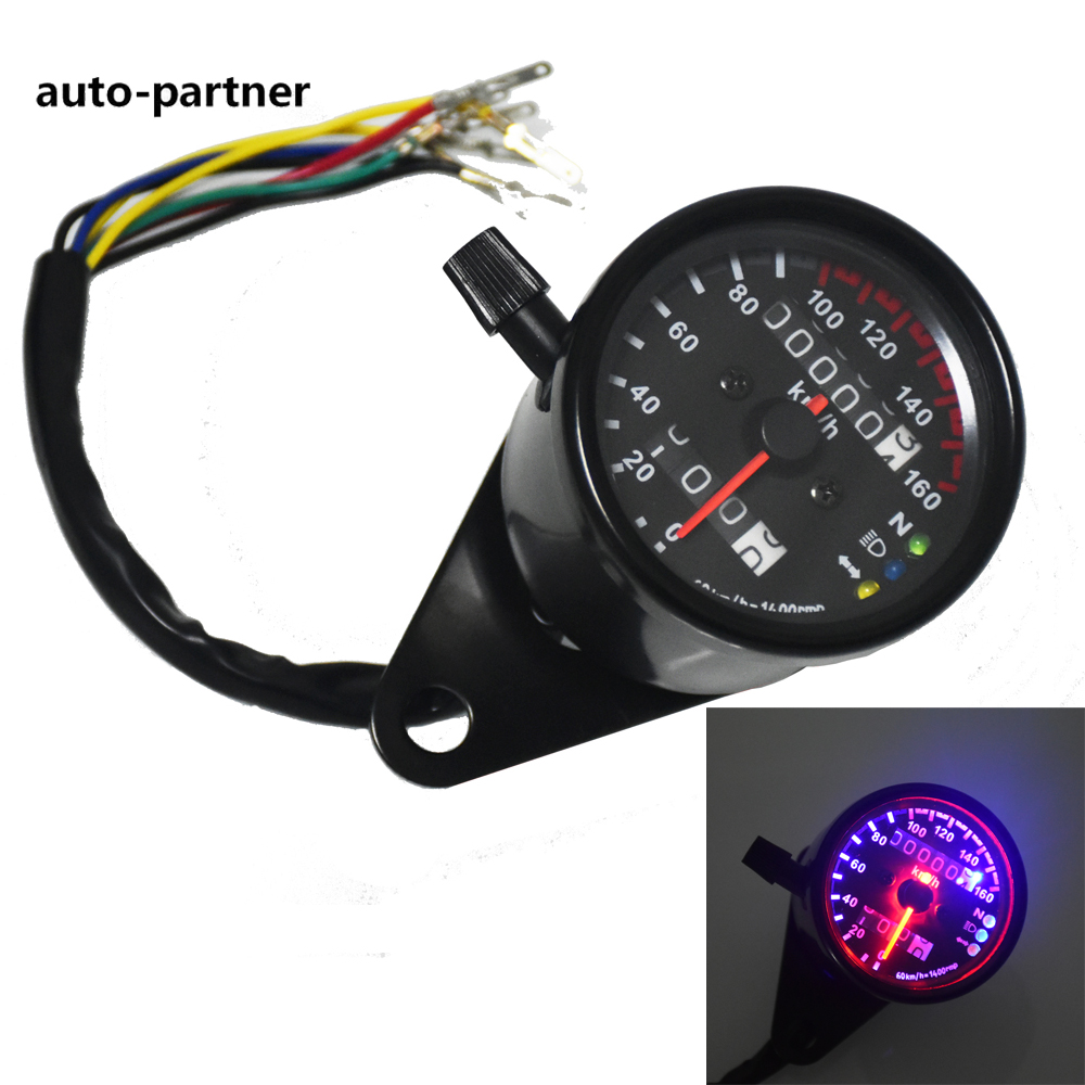 Universal Motorcycle Speedometer Odometer Gauge ATV Bike Scooter Backlit Dual Speed meter with LED Indicator DC 12V 0~160km/h universal readable speedometer gauge panel motorcycle odometer instrument led km h racer atv