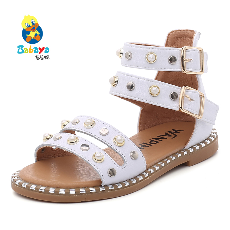 2017 Babaya Children Sandals for Girl Genuine Leather Princess Shoes Kids Beach Ankle Sandals Baby Toddler Shoes rivets Open toe baby girls princess shoes kids children princess shoes baby girl first walkers flower toddler infant shoe baby kids shoes
