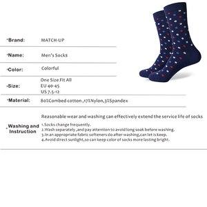 Image 3 - Классические хлопковые носки в горошек для мужчин, повседневные носки с узором ромбиками, размеры 7,5 12 (5 пар/партия) США