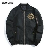 BOYUAN Black Bomber Jacket Men High Street Casual Jackets Men Stand Collar Hip Hop Embroidery Tactical