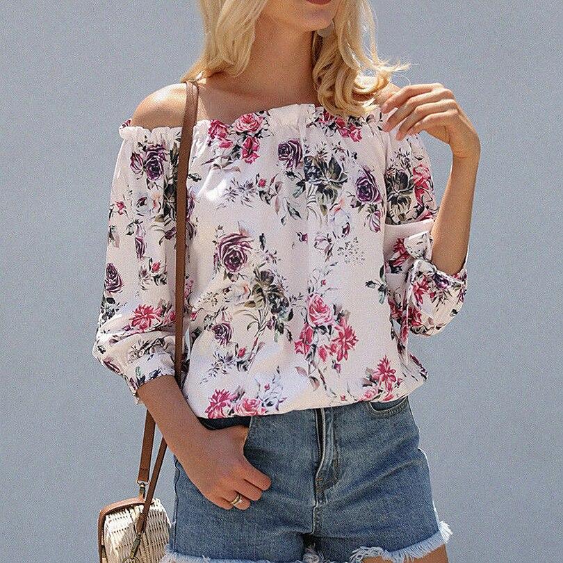 Women Boho Off Shoulder Floral Blouse Shirt New Fashion Tops Ladies Loose Shirt Summer Fashion 3/4 Sleeve Slash Neck Clothes