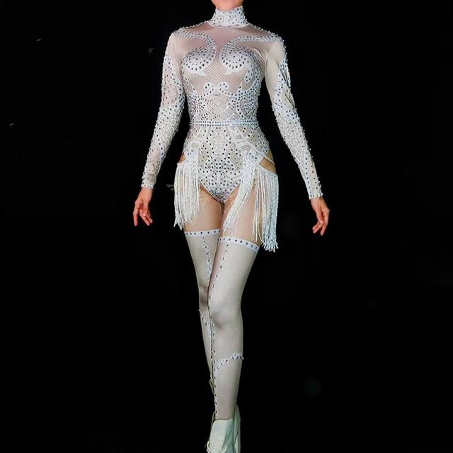 Sexy White Tassel Women Cosplay Bodysuit Sparkling Rhinestones Nightclub Party Stage Wear Jazz Dance Costumes Singer Clothing