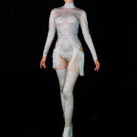 Sexy White Tassel Women Cosplay Bodysuit Sparkling Rhinestones Nightclub Party Stage Wear Jazz Dance Costumes Singer Clothing