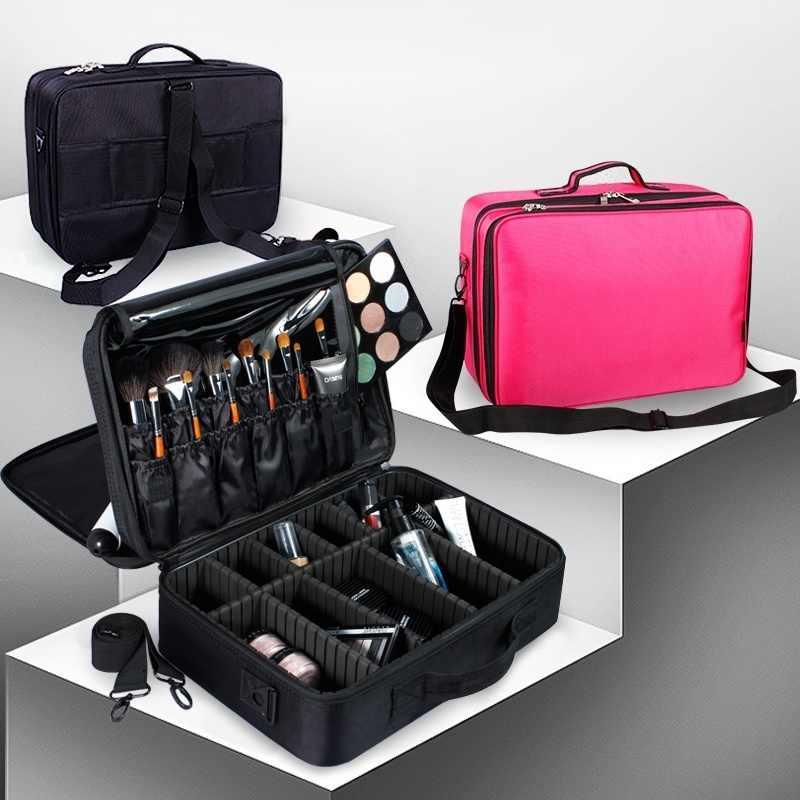 Alta Qualidade Vazio Mulheres Saco Organizador de Maquiagem Profissional Caso Cosméticos Saco Grande Caixa De Armazenamento De Maquiagem Malas de Viagem Da Bagagem do Curso