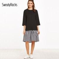 DIDK Color Block Three Quarter Length Sleeve Gingham Ruffle Trim Dress Womens Casual Plaid Knee Length