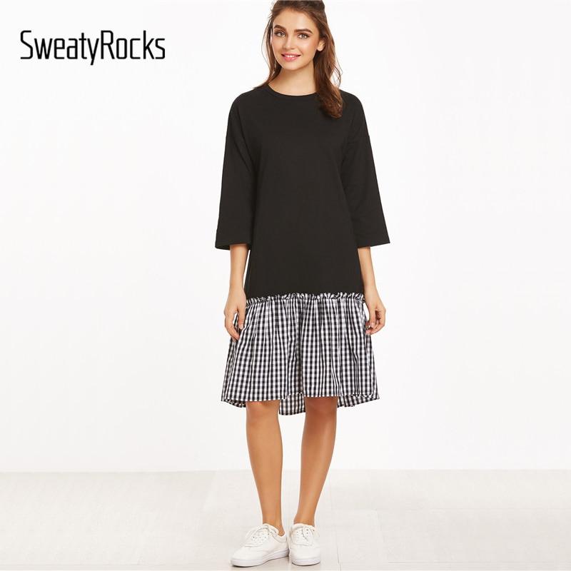 SweatyRocks Color Block Three Quarter Length Sleeve Gingham Ruffle Trim Dress Women Casual Plaid Knee Length A Line Dress