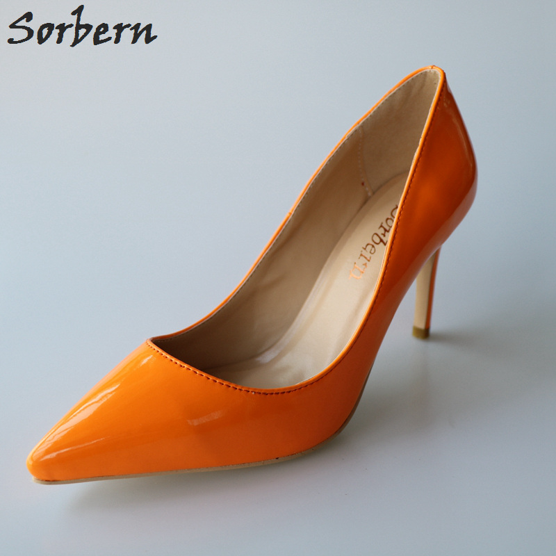 Orange Patent Leather Pointed Toe Women Pumps 8CM High Heel Slip-on OL Shoes Pumps Stilettos Spring Style Plus Size Real PhotoOrange Patent Leather Pointed Toe Women Pumps 8CM High Heel Slip-on OL Shoes Pumps Stilettos Spring Style Plus Size Real Photo