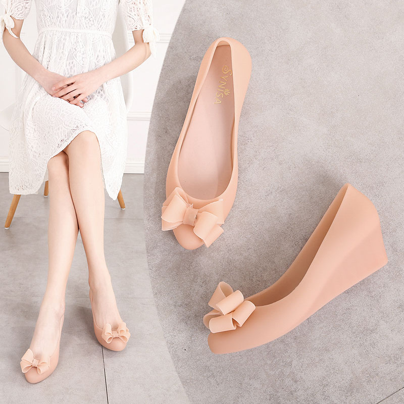 EOEODOIT Wedges Heel Jelly Shoes Women Rain Shoes Sandals Med Heel Height Increasing Jelly Sandals With Bow Slip On Summer 2019