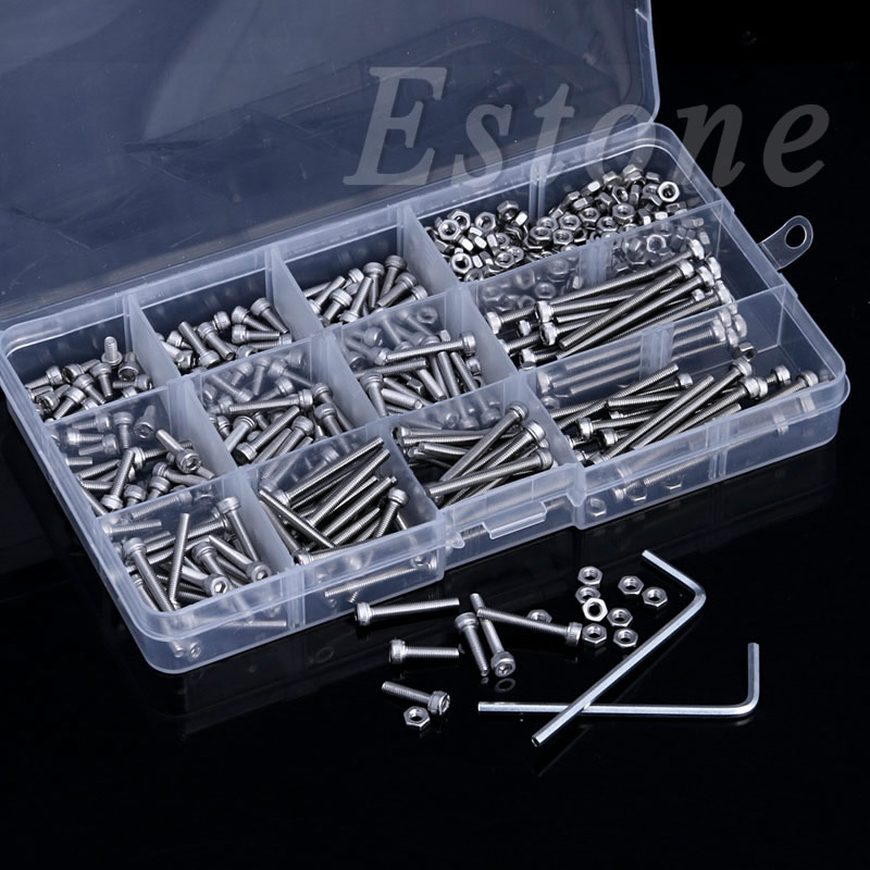 440Pcs M3 A2 Stainless Hex Head Socket Cap Screws Nuts Assortment Kit with Box 440pcs m3 m4 m5 a2 stainless steel din912 allen bolts hex socket head cap screws with nuts assortment kit no 1110