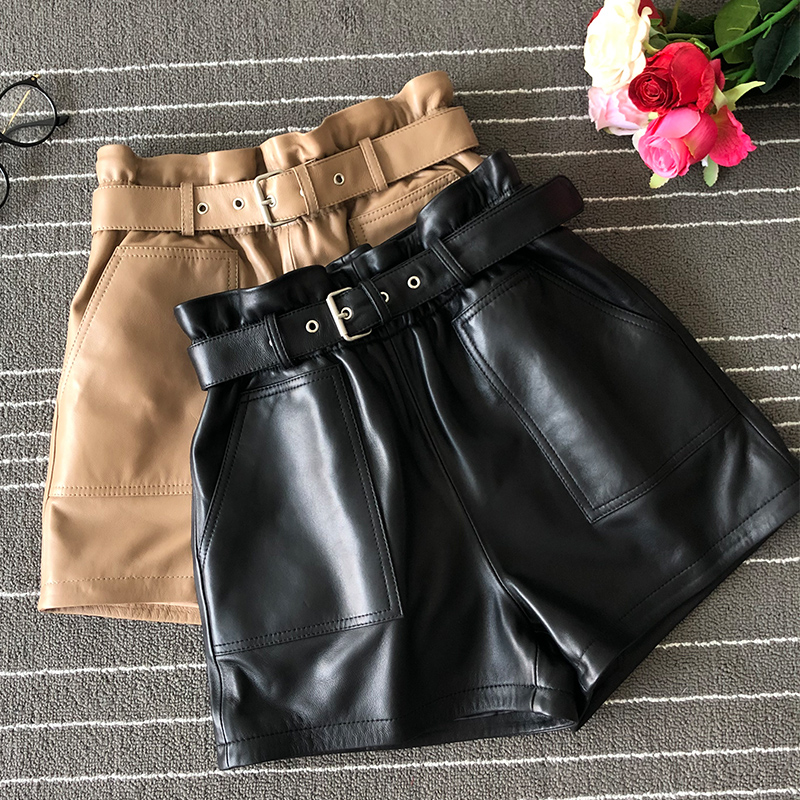 2019 Fall Women High Quality Real Leather Shorts Chic Women High-waist  Wide-leg Leather  Short Trousers  A682