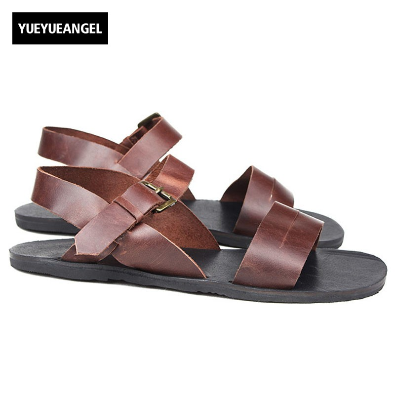 Top Brand Mens Summer Cow Genuine Leather Beach Sandals Leisure Rome Gladiator Streetwear Mens Antiskid Flats Shoes Slippers rome top 10