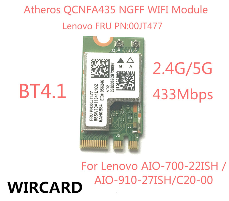 Wireless Adapter Card  QCA9377 QCNFA435 802.11AC 2.4G/5G NGFF WIFI CARD Bluetooth 4.1 For Lenovo AIO-700-22ISH C20-00