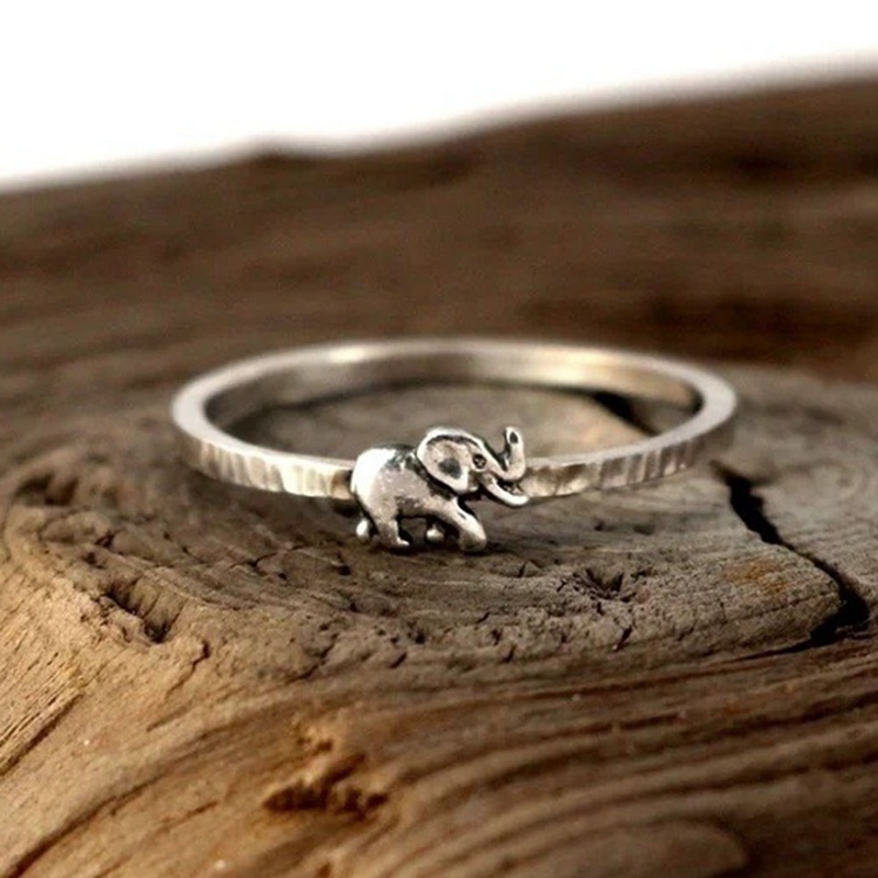 Silver Couple Jewelry Vintage Animal Rings For Women Cute Elephant Rings For Lovers Wedding Gift  Free Shipping