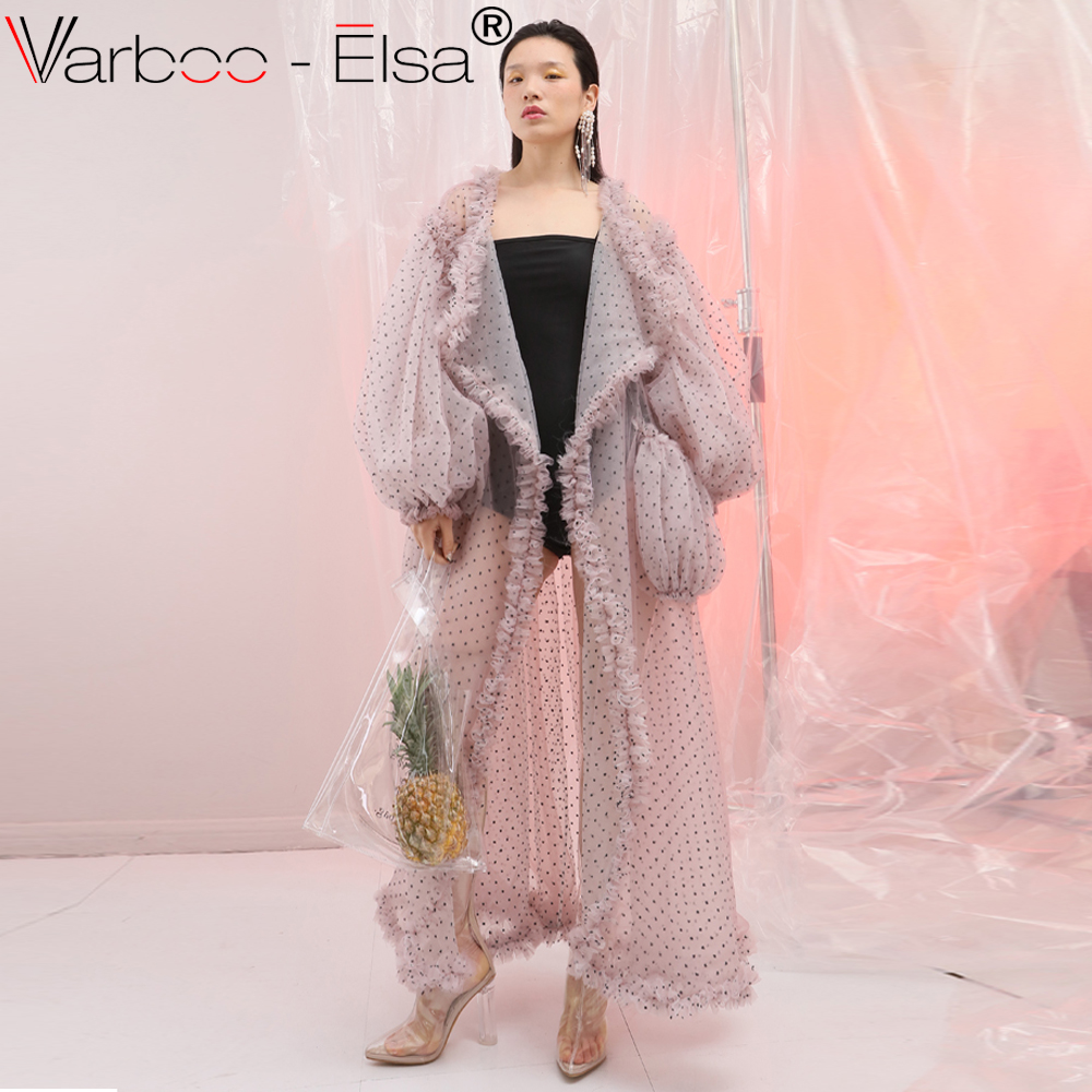 VARBOO_ELSA pink Dot   Trench   Coat Female Ruffles Lantern Sleeve Pocket Maxi Beach Windbreaker Women Summer Elegant long coat