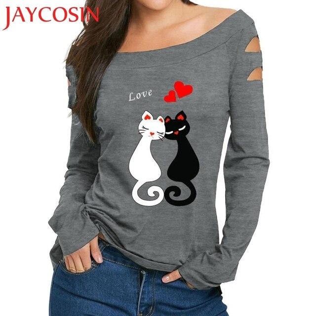 JAYCOSIN חדש 2018 נשים גבירותיי כבויה כתף חתול אהבת הדפסי חולצה ארוך שרוול חולצות dropshipped יולי 28