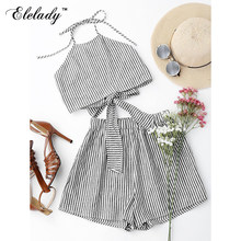 Elelady Fashion hot sale Beach Sytle Women Set Casual Two Piece Set Women Striped Printing Summer Halter sexy Crop Top Shorts(China)