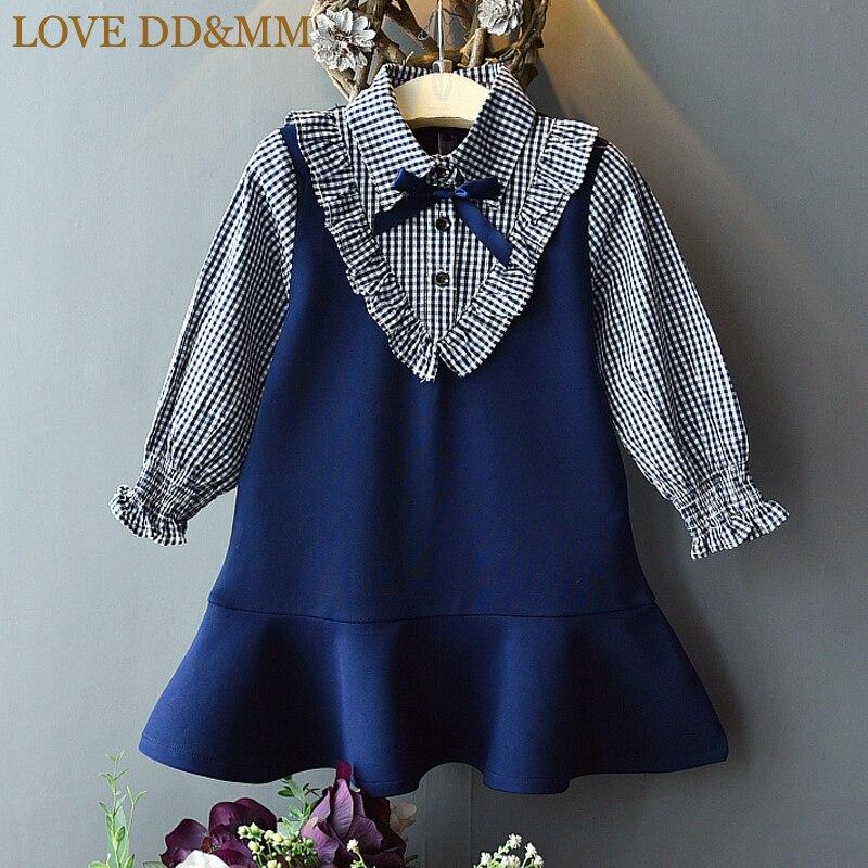 Girls Dresses Clothing Plaid Ruffle Long-Sleeved Children's Love-Dd--Mm Spring New