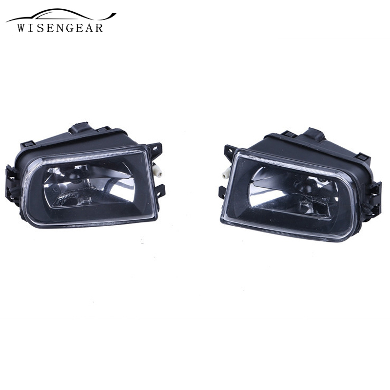 WISENGEAR Clear Lens Fog Lights Bumper Driving Lamp Housing For BMW E39 5 Series 528i 540i 1997- 2000 Z3 1997 - 2001 Car Styling 1set front chrome housing clear lens driving bumper fog light lamp grille cover switch line kit for 2007 2009 toyota camry