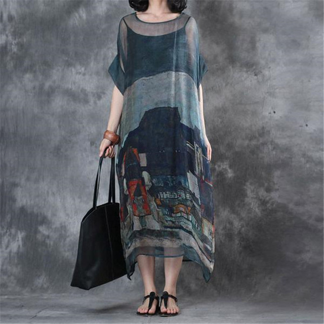 8a6b484e9a33 BUYKUD Women Dress Summer Printing Short Sleeves Round Neck Loose Maxi Free  Shipping Lady Irregular hem dresses