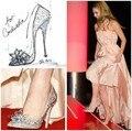 2016 Mais Novo Filme Cinderela Sapatos de Cristal Rhinestone New Arrival Adulto Prom Bombas Mulheres Saltos de Casamento Sexy Ladies Wedge