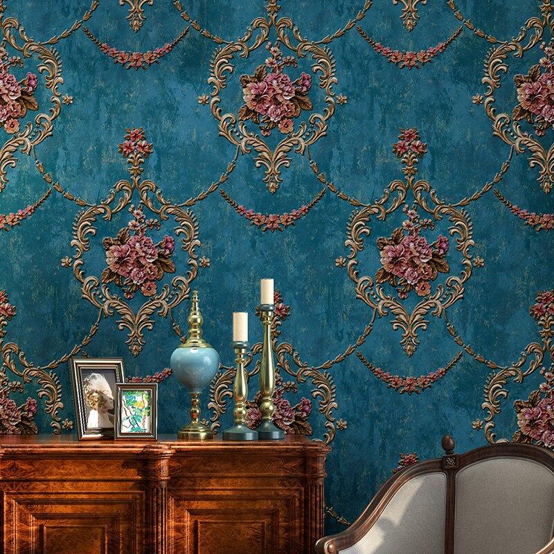 3D Pastoral Flower Non-woven Wallpaper Green European Style Bedroom Living Room Sofa TV Background Wallpaper Papel De Parede A&B