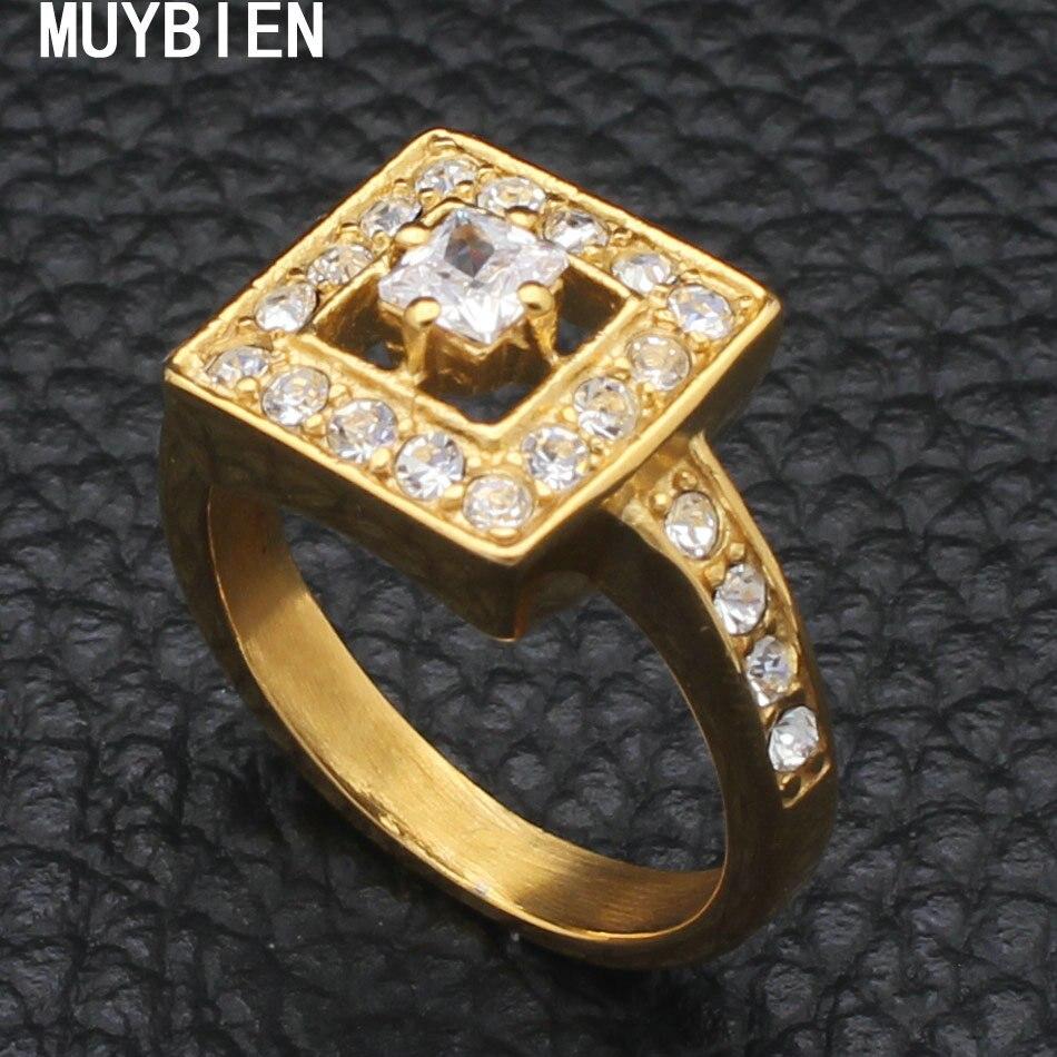 Muybien площадь Серебряный Цвет Изысканный Bijoux Мода квадратный свадьбы и Обручение кольцо Сделано с кубический цирконий, ювелирные rbjkbfbf