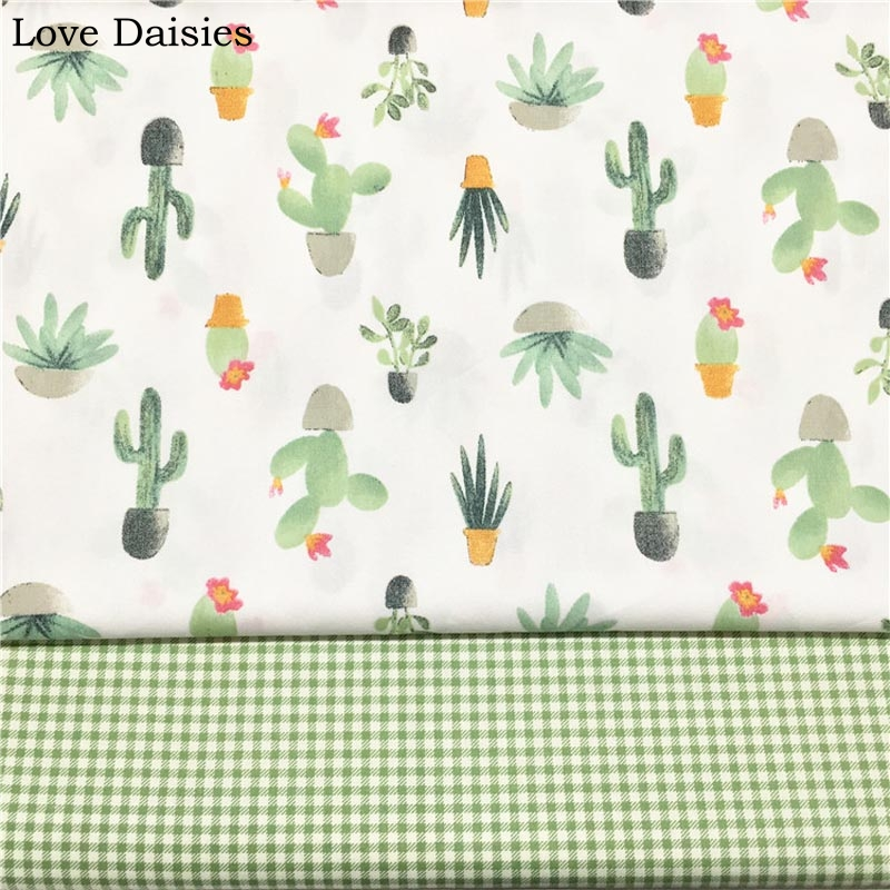 100% cotton twill cloth GREEN cartoon cactus check fabric for DIY cribs sheet bedding dresscushion patchwork handwork decoration