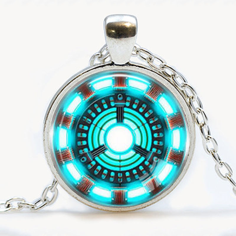 Handmade iron man necklace arc reactor pendant tony stark armor suit handmade iron man necklace arc reactor pendant tony stark armor suit jewelry avengers blue power pendants round glass kids gift in pendant necklaces from mozeypictures Image collections