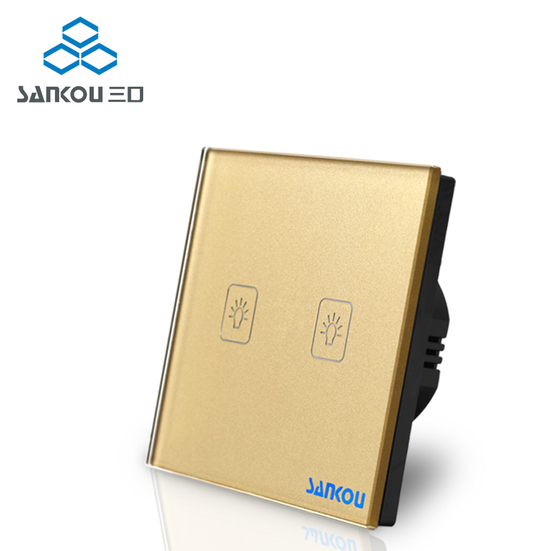 Gold Crystal Glass Touch Switch Panel, 2Gang 1Way EU Standard, Touch Sensor Light Switches, Wall Switch , AC 220~250V smart home uk standard crystal glass panel wireless remote control 1 gang 1 way wall touch switch screen light switch ac 220v