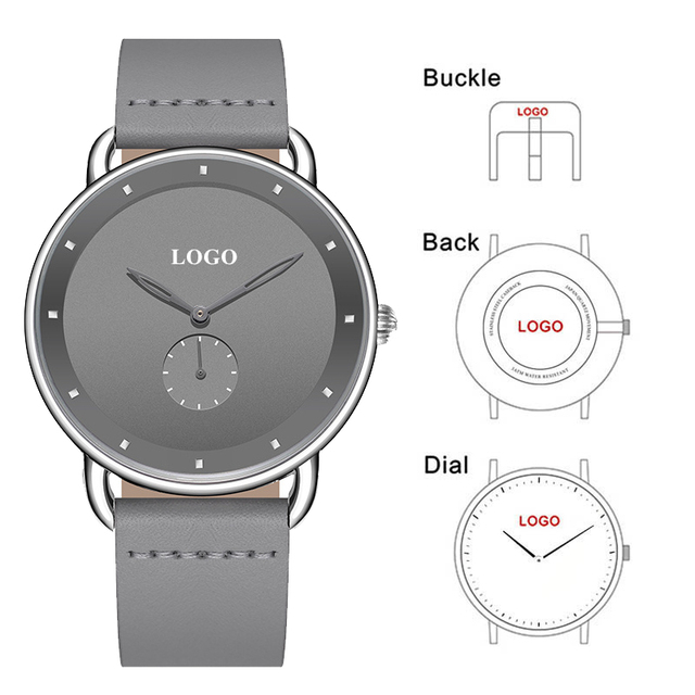 CL039 Customized Men Genuine Leather Watches Mens Fashion Brand Your Logo Watch