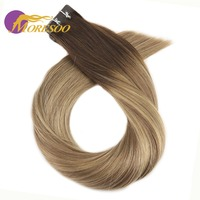 Moresoo Hair Extension Tape in Human Hair Real Brazillian Remy Hair Brown And Blonde Ombre Balayage Hair Color 20PCS