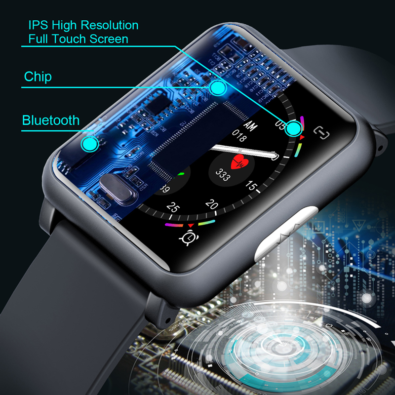 ECG PPG Monitor Blood Pressure Smart Watch Men IP67 Waterproof Heart Rate Tracker Sport Smartwatch Women Square Screen-in Smart Watches from Consumer Electronics    3