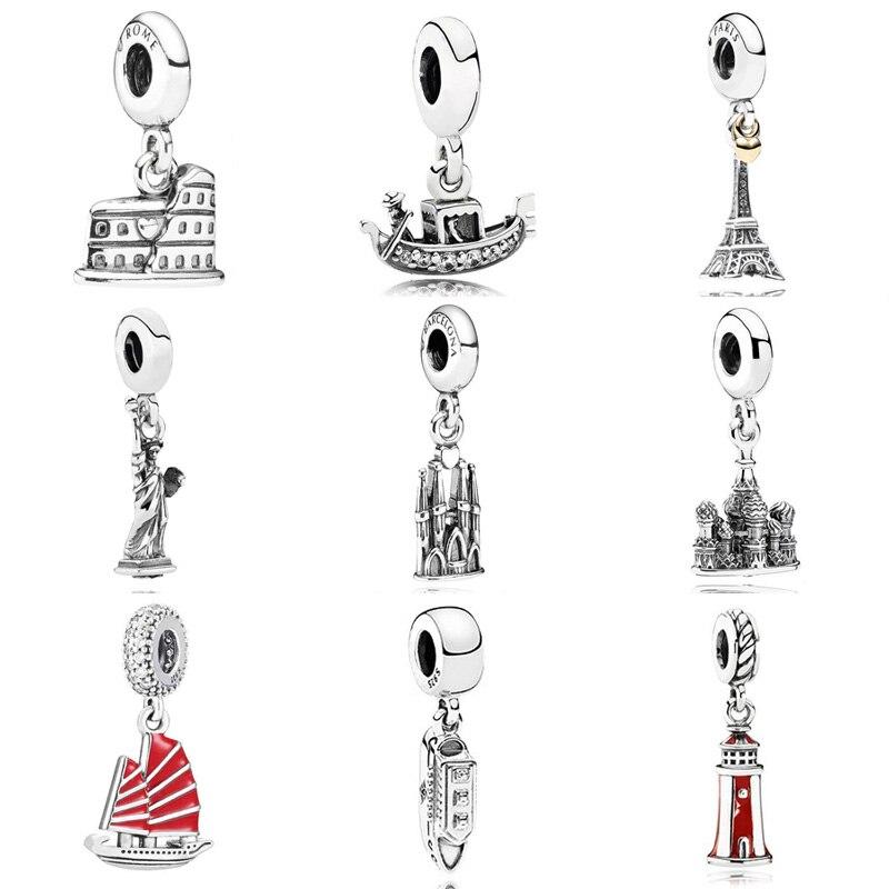 Coliseo Venecia góndola faro Estatua de la libertad colgante encanto Fit Pandora pulsera 925 Sterling Silver Bead Charm Jewelry