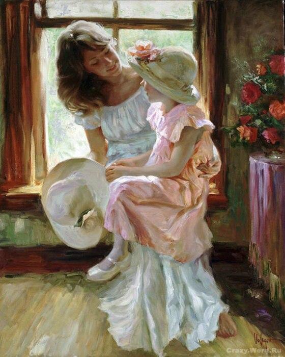 Resultado de imagem para mãe e filha pintura