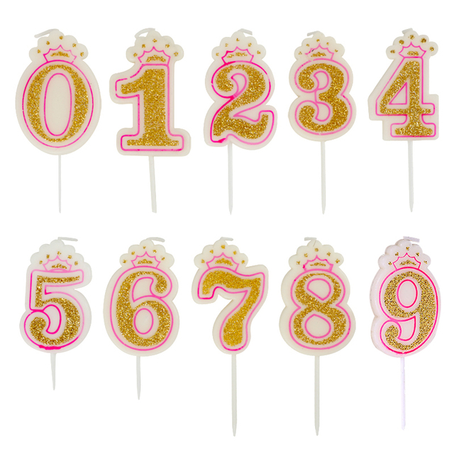 1pc Glitter Number Birthday Candle 0 9 Gold Crown Children Candles Cake Party Supplies Decoration