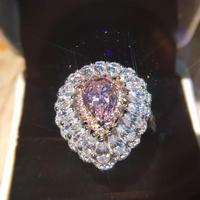 Deluxe forma de pera anillo taladro principal 3 quilates Día de San Valentín regalo modelos personalizados (MA)